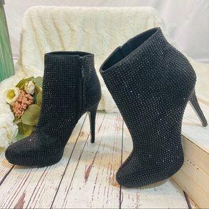 Report signature clarkson black rhinestone booties